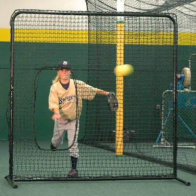 "Portable Softball Pitching Screen  6'6"" x 6'6"" with Snap Pin Frame  Pillowcase Net  and carring bag"